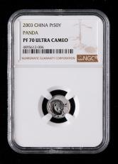 2003年熊猫1/20盎司精制铂币一枚(带证书、NGC PF70)